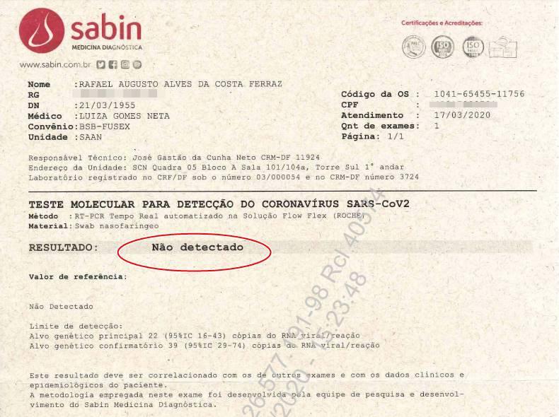 exame do presidente Jair Bolsonaro para coronavírus