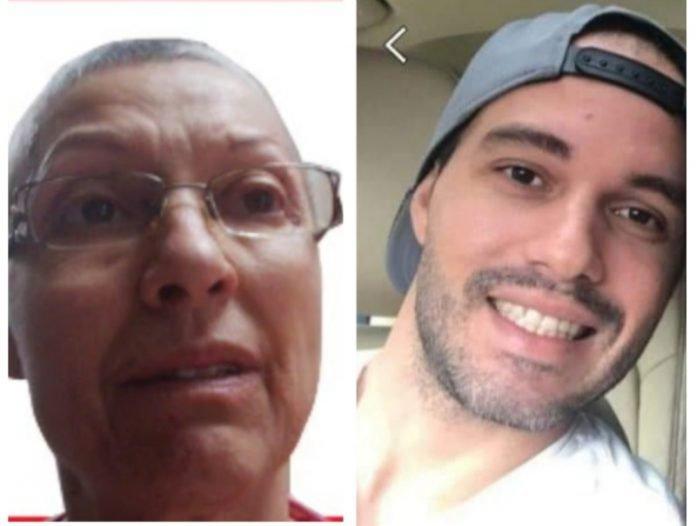 Principal suspeito de matar Kimberly Mota; ao lado, sua mãe