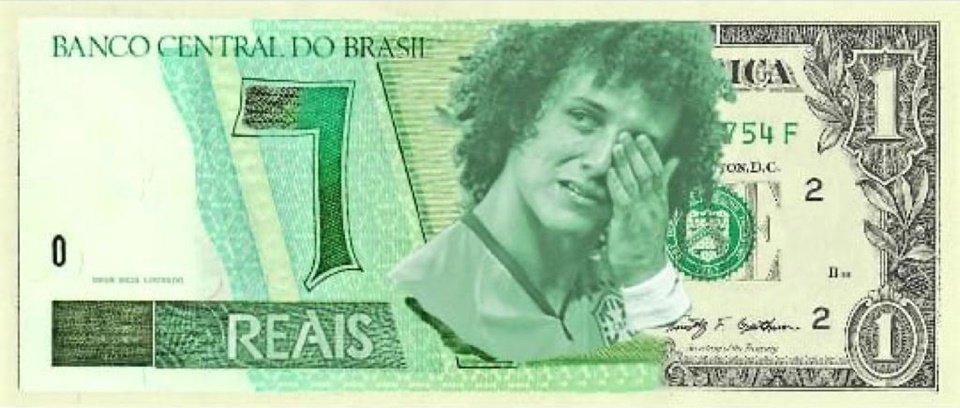 David Luiz em nota de um real