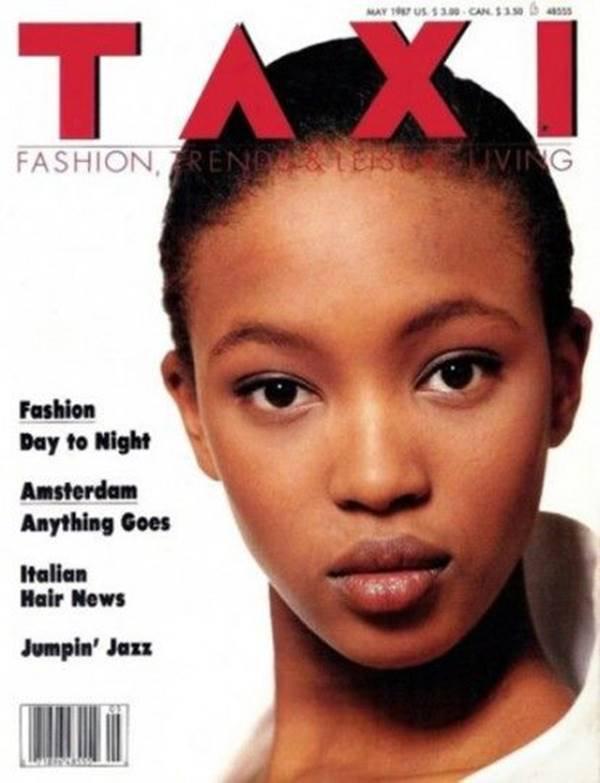 Naomi Campbell na capa da revista Taxi em 1987