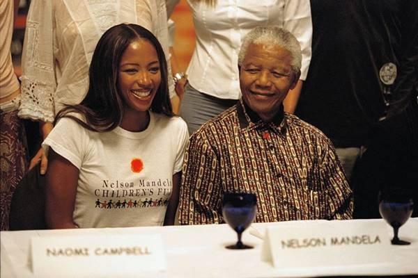 Naomi Campbell e Nelson Mandela