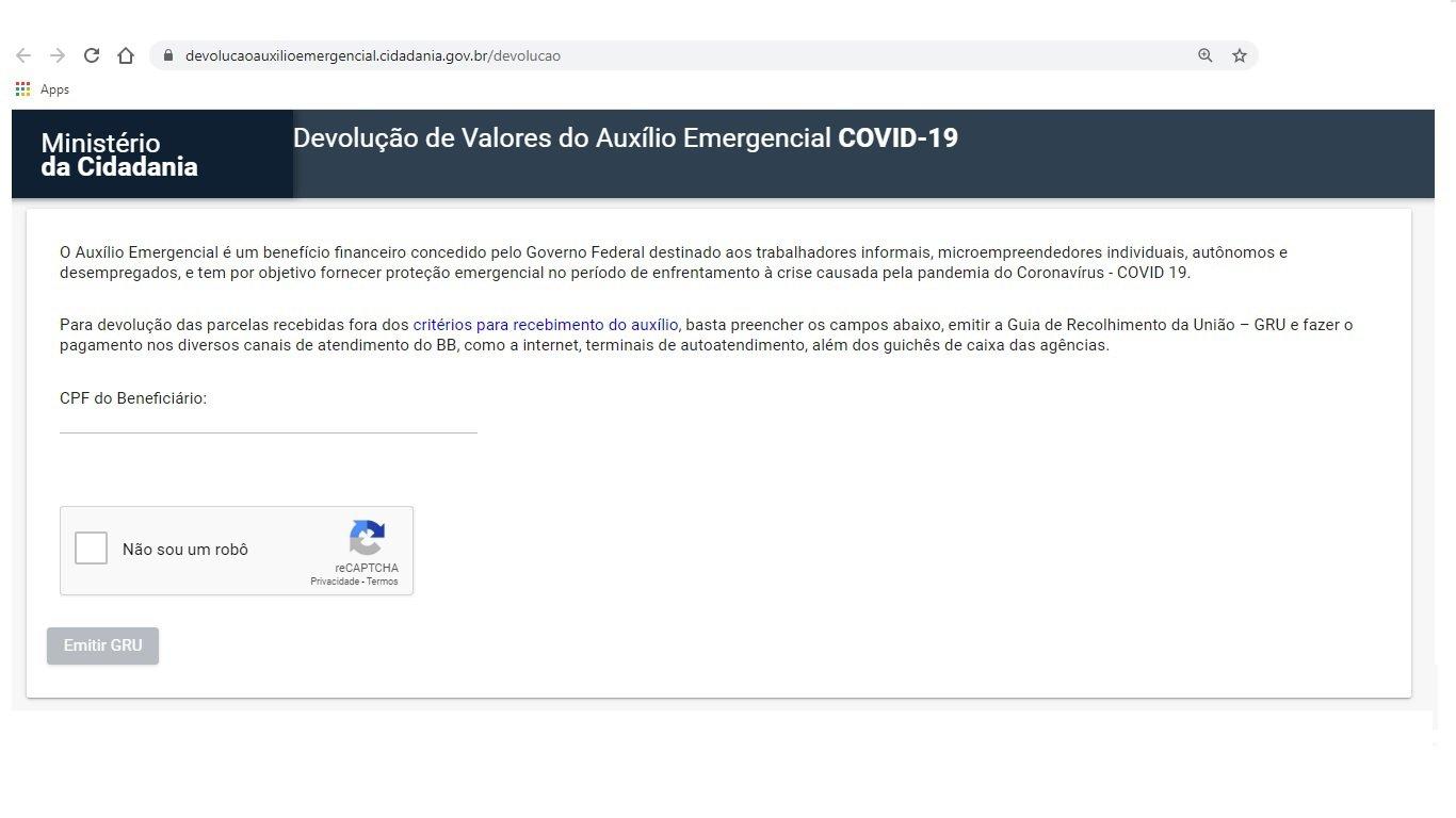 Primeiro passo é acessar o site devolucaoauxilioemergencial.cidadania.gov.br