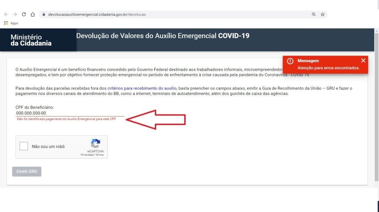 Caso o CPF não existe, ou não tenha recebido o auxílio de R$ 600, não será gerado o boleto