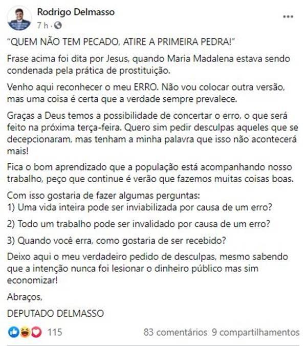 Delmasso pede desculpas após inclusão de ex-deputados em plano de saúde da CLDF