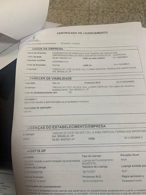 Licença de Funcionamento da Feira dos Importados