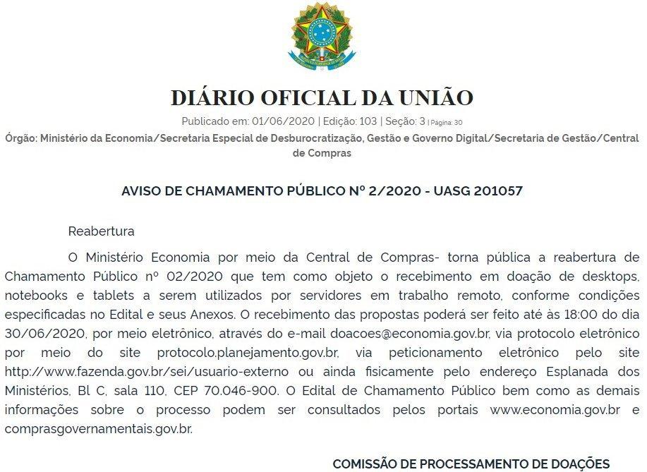 Ministério Economia abriu um chamamento público para receber doação de computadores, notebooks e tablets