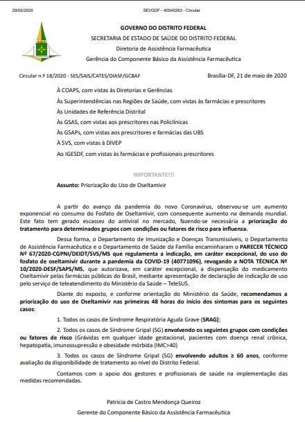 Ofício-circular da SES recomenda uso do medicamento nas primeiras 48 horas do início dos sintomas