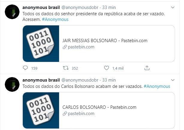 Vazamentos de dados de Bolsonaro e familiares e aliados