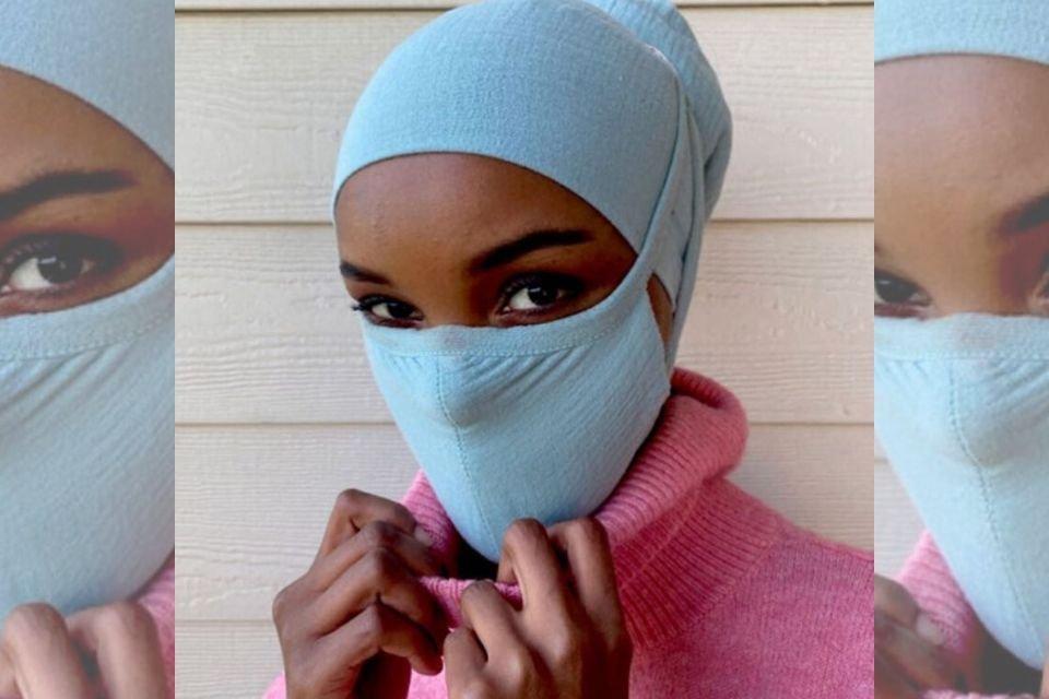 Modelo americana-somali Halima Aden com máscara e hijab criados para o projeto Banding Together