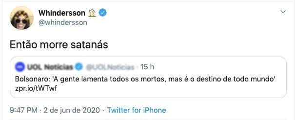 Whindersson Nunes rebate duramente Jair Bolsonaro