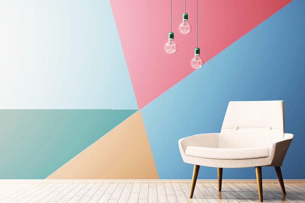parede geometrica colorida