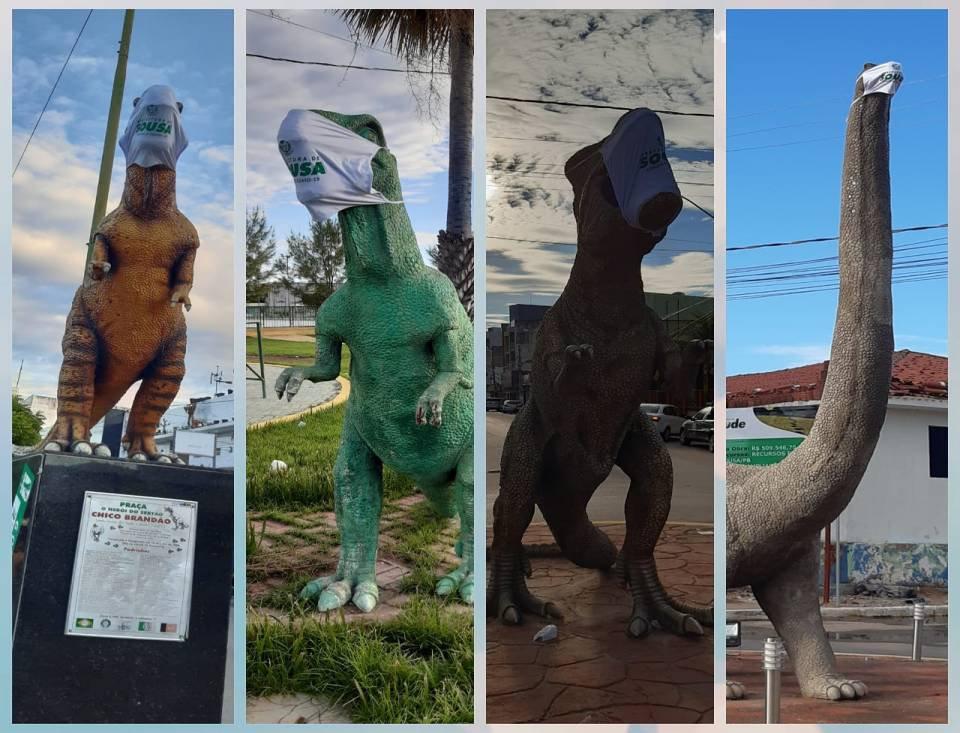 Dinossauros da cidade de Sousa receberam máscaras contra a Covid-19