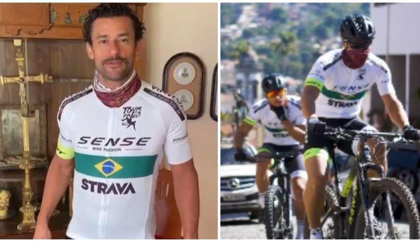 Atacante Fred, que vai de BH ao Rio de bicicleta