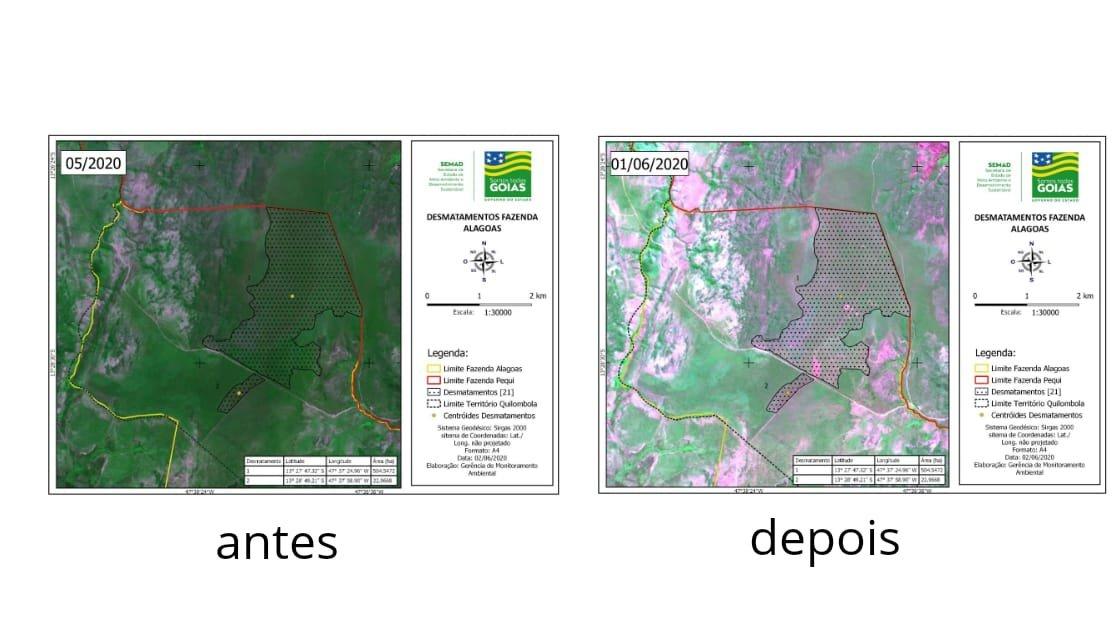 Mapa mostrando desmatamento em território Kalunga, na Chapada dos Veadeiros (GO)
