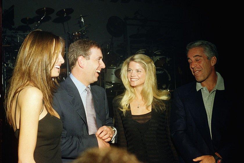 Melania Trump, príncipe Andrew, Gwendolyn Beck e Jeffrey Epstein