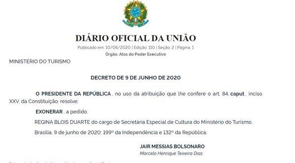 Ato de exoneração de Regina Duarte publicado no Diário Oficial da União desta quarta