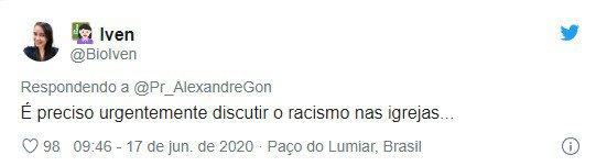 Tweet sobre fala racista de pastor