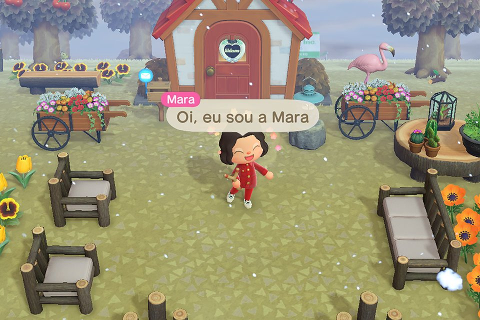 Modelo virtual Mara, da marca Amaro, como personagem do jogo Animal Crossing: New Horizons