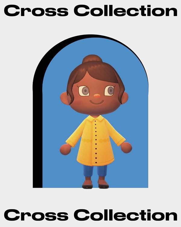 Personagem do jogo Animal Crossing com parka amarela e calça jeans skinny
