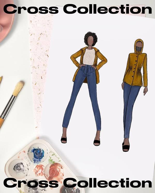 Croqui da Amaro inspirado em personagem do jogo Animal Crossing com parka amarela e calça jeans skinny