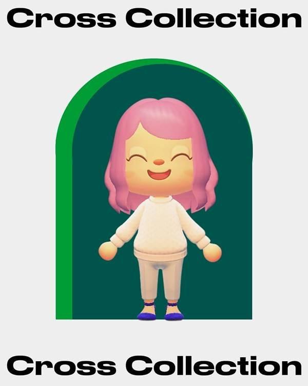 Personagem do jogo Animal Crossing com suéter branco e calça clara