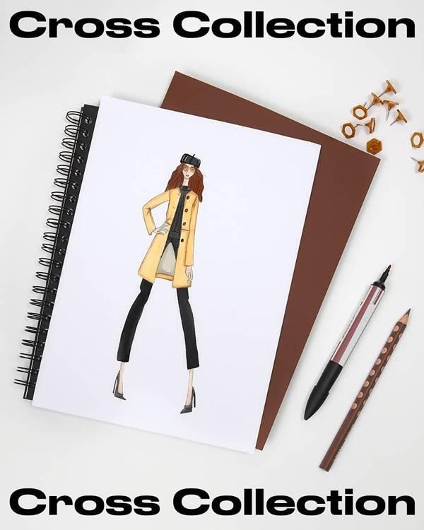 Croqui da Amaro inspirado em personagem do jogo Animal Crossing com casaco amarelo e calça preta
