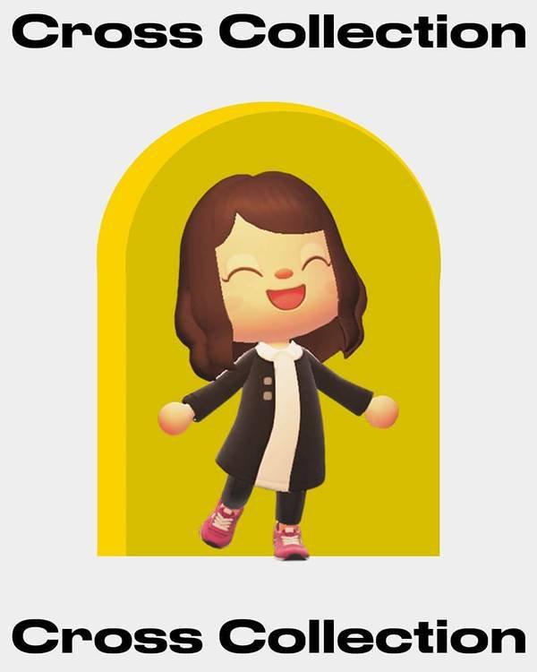 Personagem do jogo Animal Crossing com casaco preto e calça