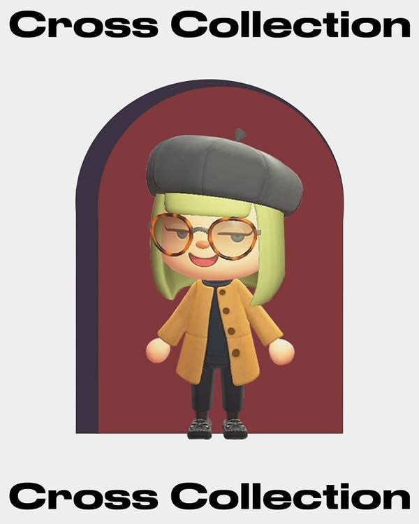 Personagem do jogo Animal Crossing com casaco amarelo e calça preta
