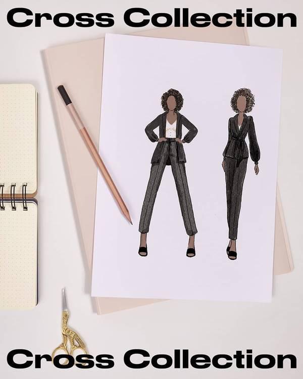 Croqui da Amaro inspirado em personagem do jogo Animal Crossing com casaco preto e calça
