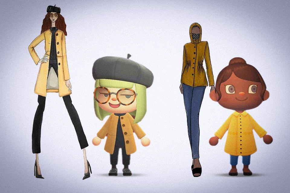Personagens do jogo Animal Crossing e croquis da Amaro
