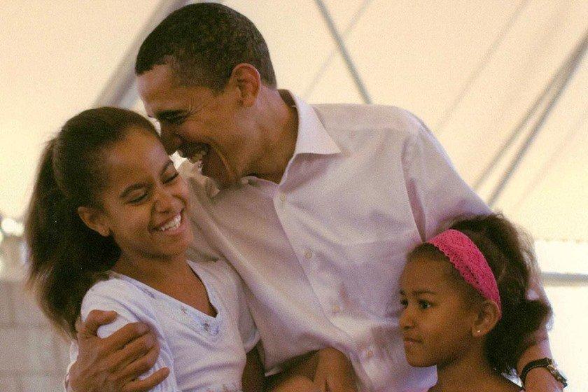 Barack Obama com as filhas