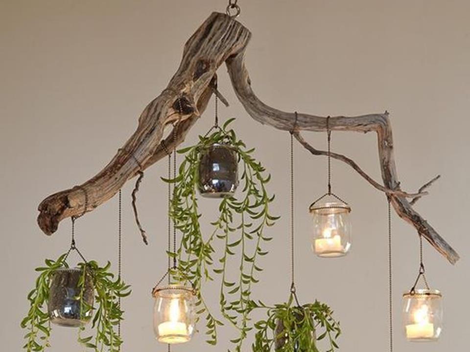 Luminária de galho de árvore