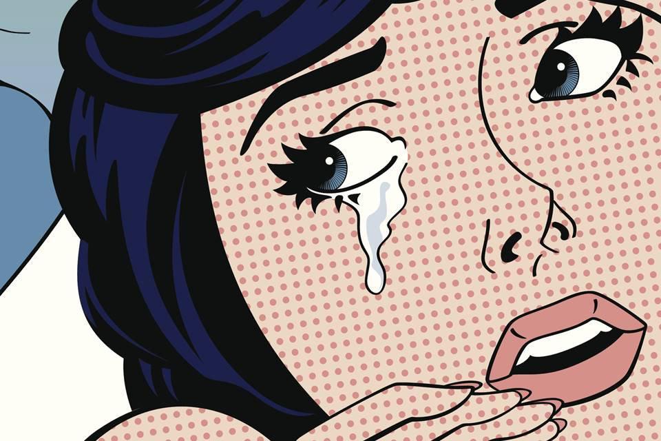 Ilustração pop art de mulher chorando