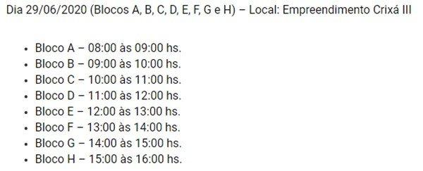 Cronograma Crixá III Codhab