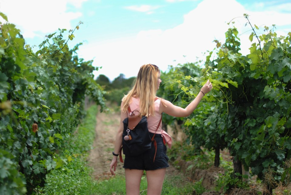 Mulher visita vinícola