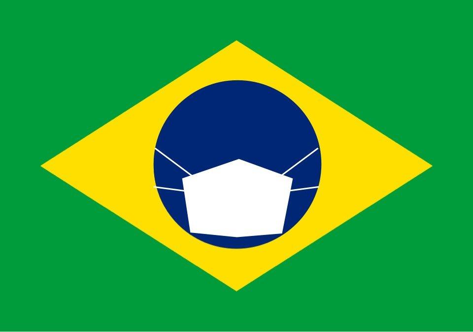 ilustração bandeira do brasil máscara