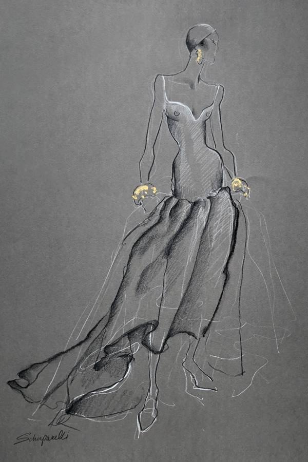 Croqui da coleção de alta-costura outono/inverno 2020/21 da Schiaparelli