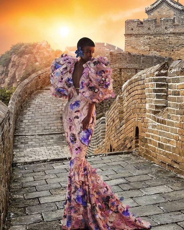 Vestido floral da coleção outono/inverno 2020 de alta-costura da Ralph & Russo