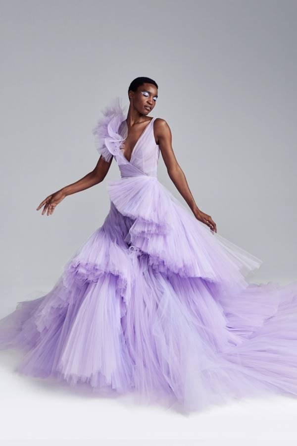 Vestido lavanda da coleção outono/inverno 2020 de alta-costura da Ralph & Russo