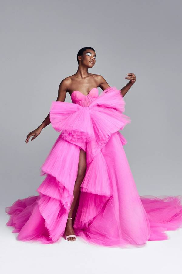 Vestido rosa da coleção outono/inverno 2020 de alta-costura da Ralph & Russo