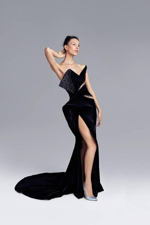 Vestido preto da coleção outono/inverno 2020 de alta-costura da Ralph & Russo