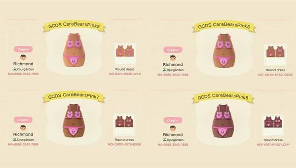Biquíni da marca italiana GCDS inspirado nos Ursinhos Carinhosos no jogo Animal Crossing