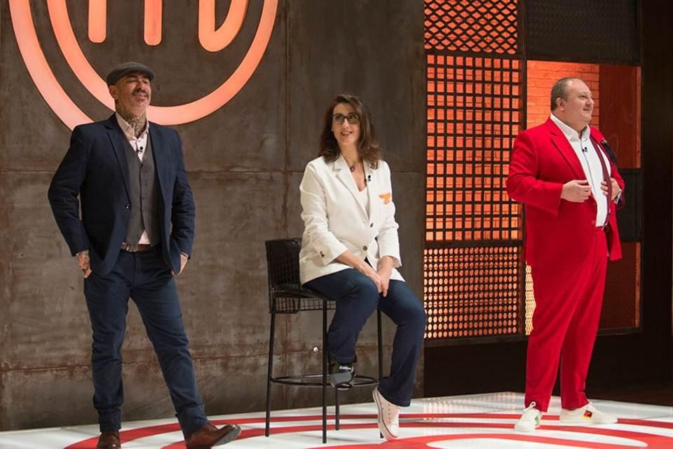 Henrique Fogaça, Paola Carosella e Erick Jacquin no estúdio