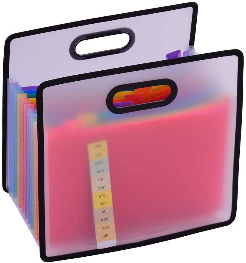 Organizador expansível para pasta A4, com 12 bolsos