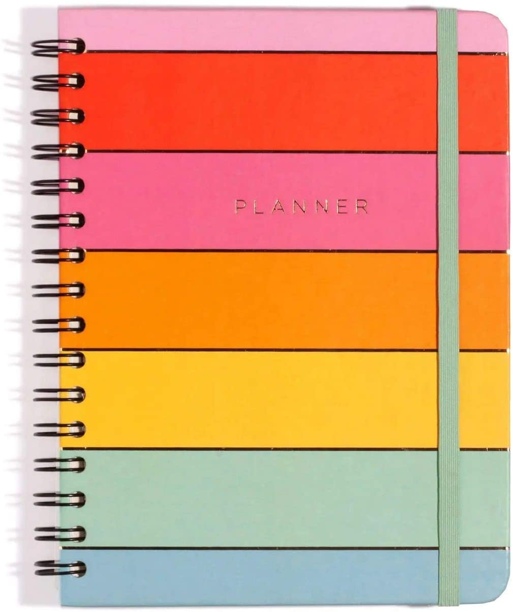 Planner Wire-o arco-íris, mensal e semanal, tamanho A5