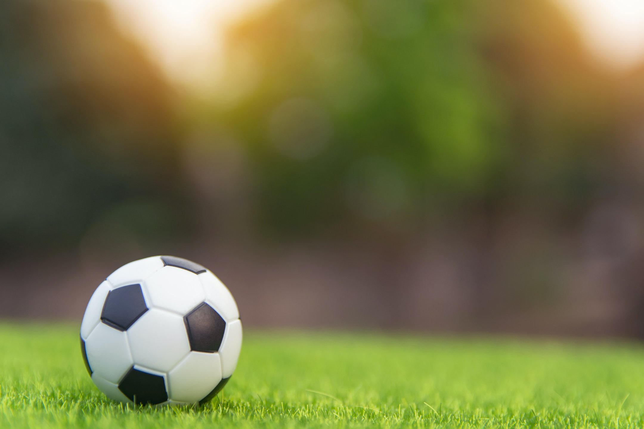 Bola no campo de futebol