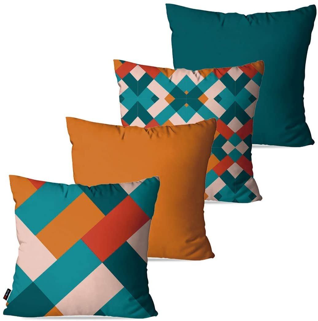 Capas para almofadas com retângulos entrelaçados