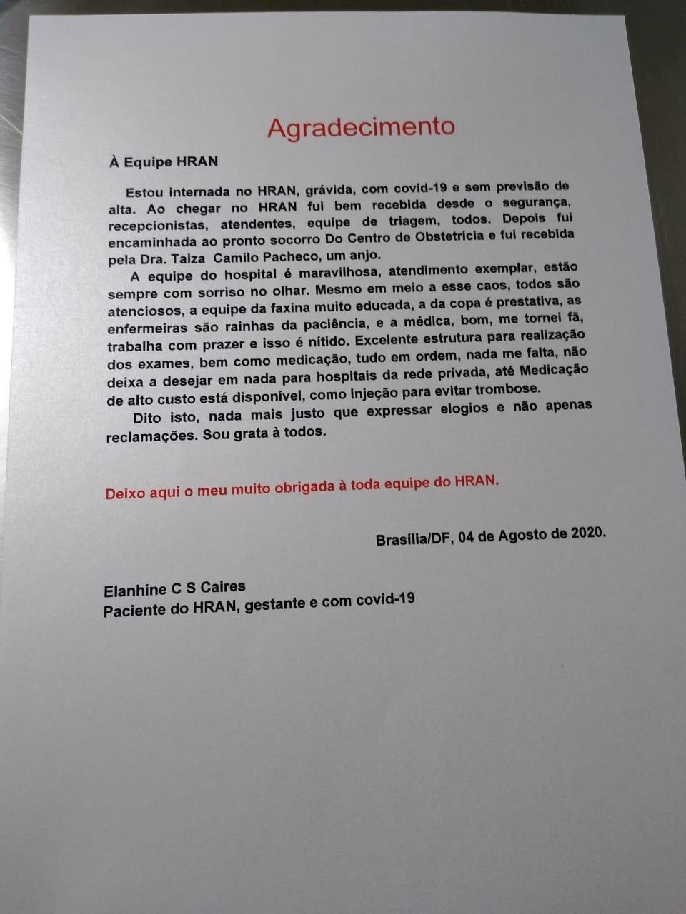 Carta de getante com Covid-19 ao HRAN