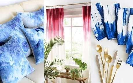 almofada, cortina e guardanapo de tye dye