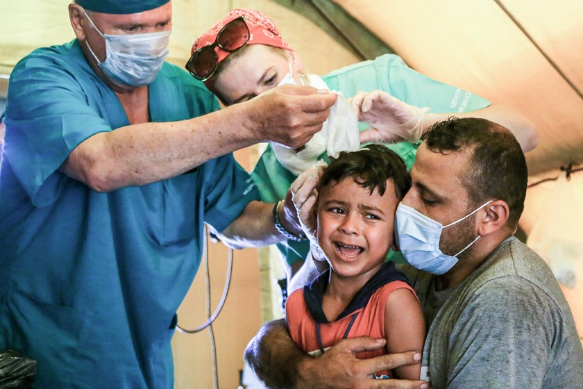 Criança ferida em Beirute